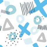 Sömlös modell Memphis Blue och Grey Elements vektor illustrationer