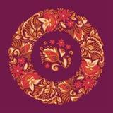 Sömlös modell på en cirkel Blom- prydnad av sidor och blommor Dekorativ målning för rysk carpal Arkivbilder