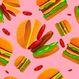 Sömlös modell på hamburgaretemat stock illustrationer