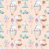 Sömlös modell på helgtema; vattenfärgluftballonger, aerostats, karusell och bilar vektor illustrationer