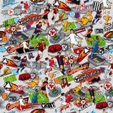 Sömlös modell på temat av fotboll Fotbollattribut, fotbolldiagram av olika lag på en grå bakgrund vektor illustrationer