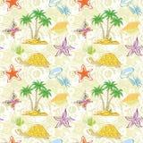 Sömlös modell, palmträd och havsdjur Royaltyfri Bild