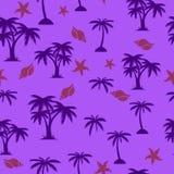 Sömlös modell, palmträd och snäckskal, på ultraviolett backgr royaltyfri illustrationer