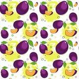 Sömlös modell Plum Fruits Summer Ornament Background vektor illustrationer