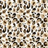 Sömlös modell Rendy för djur hud på vit bakgrund Vattenfärghanden målade det ändlösa trycket för leoparden vektor illustrationer