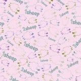 Sömlös modell - sheeps på den rosa bakgrunden stock illustrationer