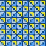 Sömlös modell som är geometrisk, fyrkanter, blått, guling, halvor, bakgrund Royaltyfria Foton