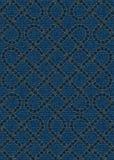 Sömlös modell som broderas på blå grov bomullstvilltexturbakgrund Royaltyfria Bilder