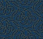 Sömlös modell som broderas på blå grov bomullstvilltexturbakgrund Arkivfoton
