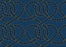 Sömlös modell som broderas på blå grov bomullstvilltexturbakgrund Arkivfoto