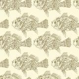 Sömlös modell Steampunk för mekanisk fisk Tappningbakgrund med metallfisken och kugghjul, muttrar, skruvar och mekanism desi stock illustrationer