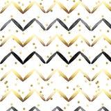 Sömlös modell - svart och guldband på guld- conftti- och vitbakgrund royaltyfri illustrationer