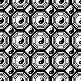 Sömlös modell Taiji Bagua för svartvit symmetri royaltyfri illustrationer