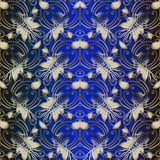 Sömlös modell tappningPaisley för blom- vektor Elegansmörker - blå dekorativ bakgrund Guld- etniska stilpaisley blommor, linjer royaltyfri illustrationer