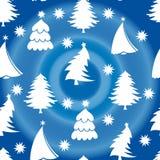 Sömlös modell, träd för vit jul, på en blå bakgrundsintelligens vektor illustrationer