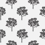 Sömlös modell, vektor som upprepar illustrationen, dekorativa dekorativa stiliserade ändlösa träd Abstrakt bakgrund, seamlesgraph Arkivfoton