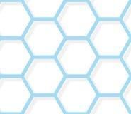 Sömlös modell - vit och blå sexhörnig textur Arkivfoton