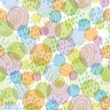 Sömlös modellabstrakt begreppbakgrund med cirklar och droppar (gräsplan, blått, apelsin, lilor) Royaltyfri Bild