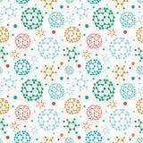 Sömlös modellbakgrund för färgrika molekylar vektor illustrationer