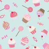 Sömlös modellbakgrund för födelsedag med muffin, sötsaker, godisar stock illustrationer
