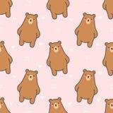 Sömlös modellbakgrund för gullig björn stock illustrationer