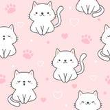 Sömlös modellbakgrund för gullig katt vektor illustrationer