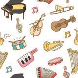 Sömlös modellbakgrund för musikinstrument vektor illustrationer