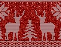 Sömlös modellbakgrund för röd och vit jul med hjortar royaltyfri illustrationer