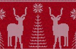Sömlös modellbakgrund för röd och vit jul med hjortar stock illustrationer