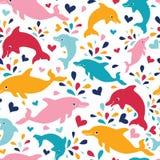 Sömlös modellbakgrund för roliga färgrika delfin vektor illustrationer