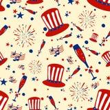 Sömlös modellbakgrund för 4th av den Juli självständighetsdagen Amerika Arkivfoton