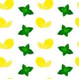 Sömlös modellbakgrund för vektor med mintkaramellen och citroner Royaltyfri Foto