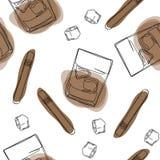 Sömlös modellbakgrund med den alkoholdrinkar och cigaretten stock illustrationer