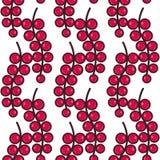 Sömlös modellbakgrund med röda vinbär, färgrik illustration royaltyfri illustrationer