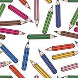Sömlös modellbakgrundsblyertspenna Skoladesignvektor Studietapet Arkivbild