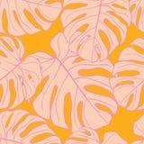 Sömlös modelldesign för gulliga gröna tropiska sidor stock illustrationer