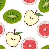 Sömlös modellgrapefrukt, kiwi, äpple Royaltyfria Foton