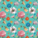 Sömlös modellhand för blommor som dras för tryckdesign Passande vektor royaltyfri illustrationer