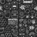 Sömlös modellhonungmarknad, basar, ganska klotterbilder för honung av bin, blommor, krus, honungskaka, bikupa, fläck stock illustrationer