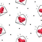 Sömlös modellprick med kuvert och hjärtor Räkning för gåvainpackning och textil på dag för valentin` s Arkivfoto