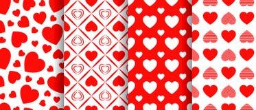 Sömlös modelluppsättning för hjärtor Vektor upprepad textur Samling för bakgrunder för dag för valentin` s Härliga förälskelsehjä vektor illustrationer