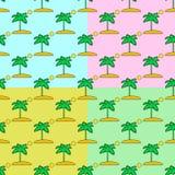 Sömlös modelluppsättning för palmträd på en färgbakgrund Arkivfoto
