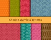 Sömlös modelluppsättning för traditionell kines Detaljerade dekorativa motiv också vektor för coreldrawillustration Royaltyfri Bild