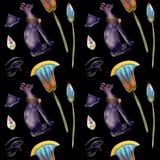 Sömlös modellvattenfärg med bastet, egyptiskt symbol royaltyfri illustrationer