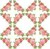 Sömlös modellvattenfärgbukett av tre rosor på en vit rombbakgrund vektor illustrationer