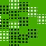 Sömlös modellvektor av den abstrakta och slumpmässiga svartvita fyrkanten på grön bakgrund Arkivbilder