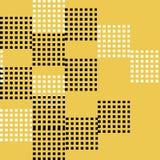 Sömlös modellvektor av den abstrakta och slumpmässiga svartvita fyrkanten på gul bakgrund Fotografering för Bildbyråer