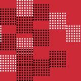 Sömlös modellvektor av den abstrakta och slumpmässiga svartvita fyrkanten på röd bakgrund Royaltyfri Bild