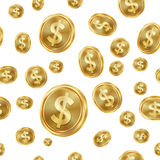 Sömlös modellvektor för dollar coins dollareuroguld Isolerad bakgrund Guld- finansbankrörelsetextur stock illustrationer