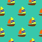 Sömlös modellvektor för gullig färgrik segelbåt vektor illustrationer